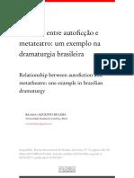 Relações Entre Autoficcao e Metateatro