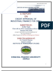 Report on Credit Appraisal of Industrial Finance