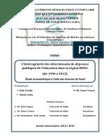Déterminants Des Dépenses de l'Éducation Avec PANEL en MENA