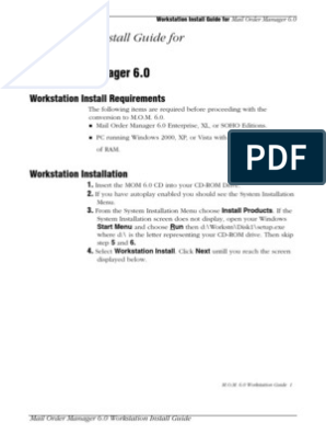 Mail Order Manager 6 0: Workstation Install Guide for