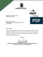 Informe sobre pedido para que AN apruebe  denuncia del TBI Ecuador - Francia