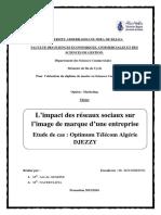 Memoire L'Impact Des Réseaux Sociaux Sur l'Image de Marque d'Une Entreprise PDF