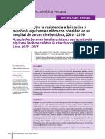 Asociación entre la resistencia a la insulina y acantosis nigricans en niños con obesidad en un hospital de tercer nivel en Lima, 2018 - 2019