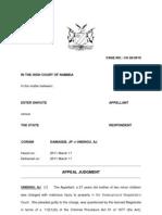 Ester Shivute versus The State Appeal Judg.CA 56-10.Damaseb JP et Unengu AJ.11March 11