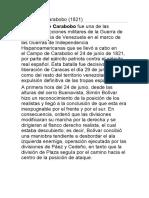 Batalla de Carabobo  informe  escrito