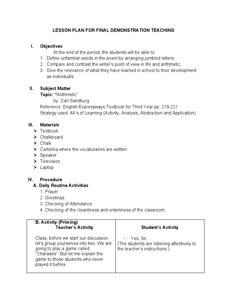 a detailed lesson plan in english Teks: english language arts & reading science social studies  each lesson  plan includes learning objectives, detailed instructions, and accompanying.