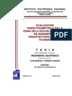Evaluación Espectrométrica en La Zona de La Escuela Superior de Ingeniería y Arquitectura, Unidad Ticomán