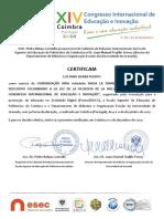 Certificado de presentación de Comunicación oral de LUZ DARY SIERRA PUERTO al XIV CIEI2020