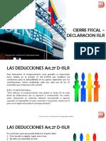 Deducciones Art 27 Cierre Fiscal