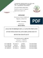 MÉMOIRE ANALYSE NUMERIQUE DE LA CAPACITE PORTANTE D'UNE FONDATION FILANTE IMPLANTEE SUR UN BICOUCHE GRANULEUX