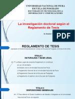 Tesis III - Sesión 3 - La Investigación Doctoral Según El Reglamento de Tesis