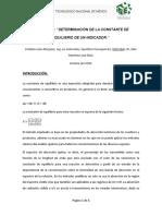 DETERMINACIÓN DE LA CONSTANTE DE EQUILIBRIO DE UN INDICADOR