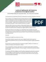XII Asamblea Federal IU Resolucion Contra La Legitimacion de Las Inmatriculaciones de La Iglesia