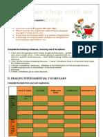 Shopping Worksheet