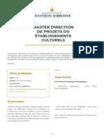 Brochure Master Direction de projets ou établissements culturels