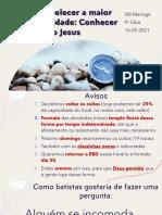 Conhecer a Cristo - SIB - 16-05-2021