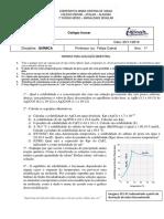 Avaliação Mensal 1º - Constante de Produto de Solubilidade
