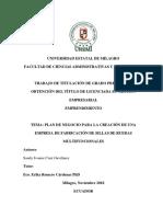 PLAN DE NEGOCIO PARA LA CREACIÓN DE UNA EMPRESA DE FABRICACIÓN DE SILLAS DE RUEDAS MULTIFUNCIONALES
