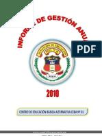 INFORME DE GESTION CEBA Nº 01 - HUARAL.