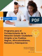 Programa Para El Fortalecimiento de La Relación Estado-Ciudadano Dirigido a Los Pueblos Negros, Afrocolombianos, Raizales y Palenqueros - Abril de 2021 (1)