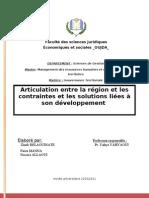 Articulation entre la region et les contraintes et les solutions liées à son developpement