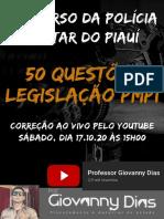 50 QUESTÕES PMPI - LEGISLAÇÃO - LIVE 17.10 - PROF GIOVANNY