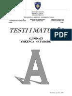 Test Gjimnaz Natyror,Qershor 2008,GR.A