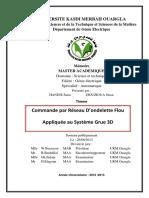 Commande Par Réseau d'Ondelette Flou Appliqué Au Systéme Grue 3D ( Ziouzioua