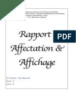 RAPPORT 1 (Affectation et affichage)