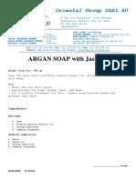ARGAN SOAP With Jasmine Data Sheet