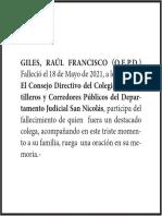 Solicitada Raul Giles - Colegio de Martilleros
