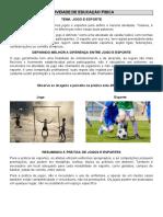 ATIVIDADE - EDUCAÇÃO FISICA - JOGOS E ESPORTES
