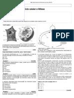 Lista Nucleo Celular, Ciclo Celular e Mitose (1)