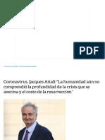Coronavirus. Jacques Attali__La Humanidad Aún No Comprendió La Profundidad de La Crisis Que Se Avecina y El Costo de La Resurrección_ - LA NACION