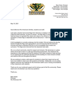 Rio Americana Letter to Parents