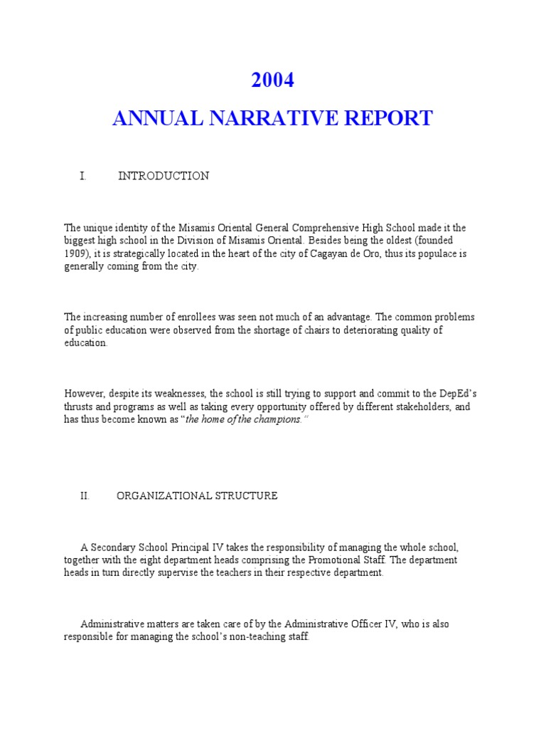 sample of narrative report on