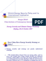 China's Energy Security Policy and Its