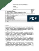 Curso Técnico em Transações Imobiliárias - proposta de Matriz Curricular