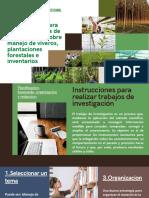 Instrucciones para realizar trabajos de investigación, sobre manejo de viveros, plantaciones forestales e inventarios
