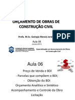 Aula 6  - ORÇAMENTO DE OBRAS DE CONSTRUÇÃO CIVIL