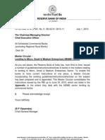 RBI Master Circular - Lending to Micro, Small & Medium Enterprises (MSME) Sector