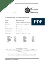Database Design and Implementation Exam December 2007 - UK University BSc Final Year