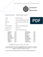 Database Design and Implementation Exam June 2010 - UK University BSc Final Year