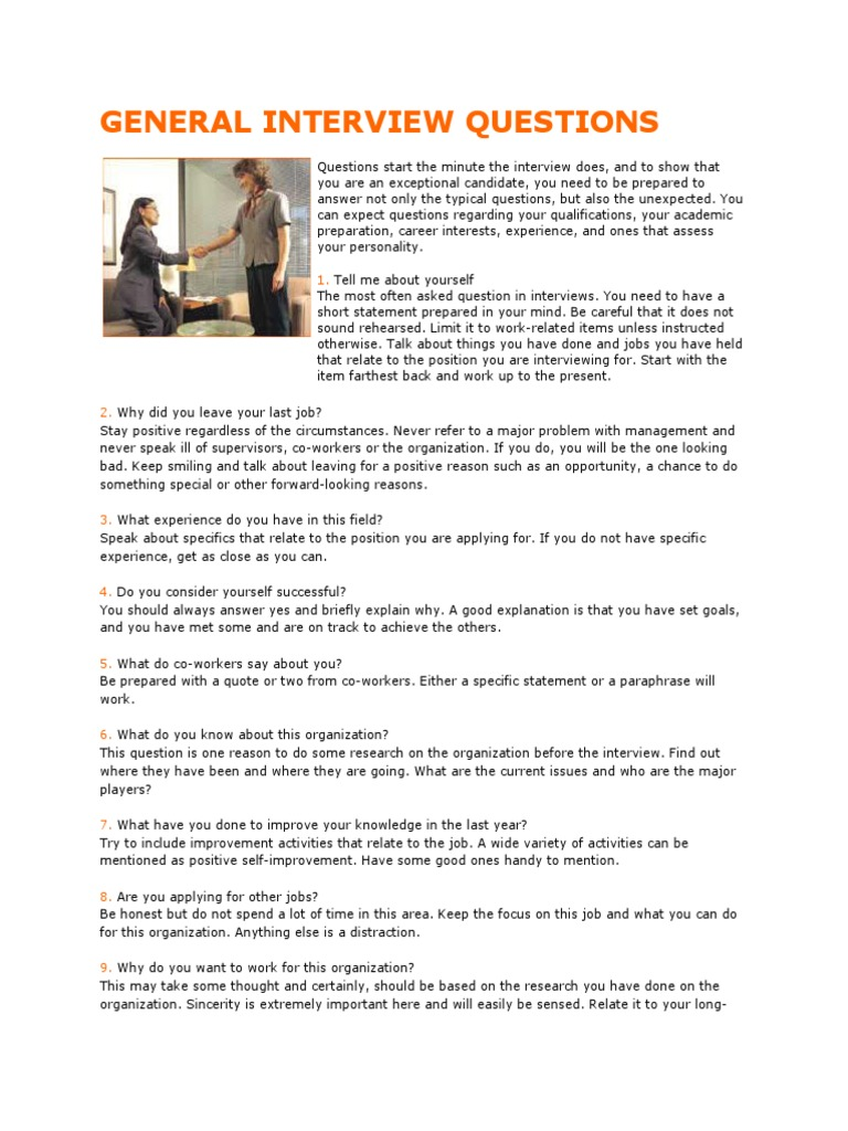 High Quality GENERAL INTERVIEW QUESTIONS | Interview | Employment