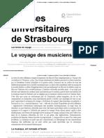 Les formes du voyage - Le voyage des musiciens - Presses universitaires de Strasbourg