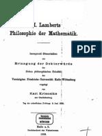 Lambert, Philosophie der Mathematik