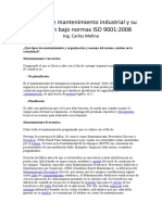 Técnicas de mantenimiento industrial y su aplicación bajo normas ISO 9001