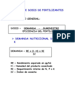 Cálculo de dosis de fertilizantes