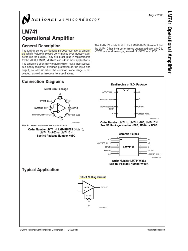 Lm 741 Data Sheet Operational Amplifier Electromagnetic Field Detector Circuit Ua741