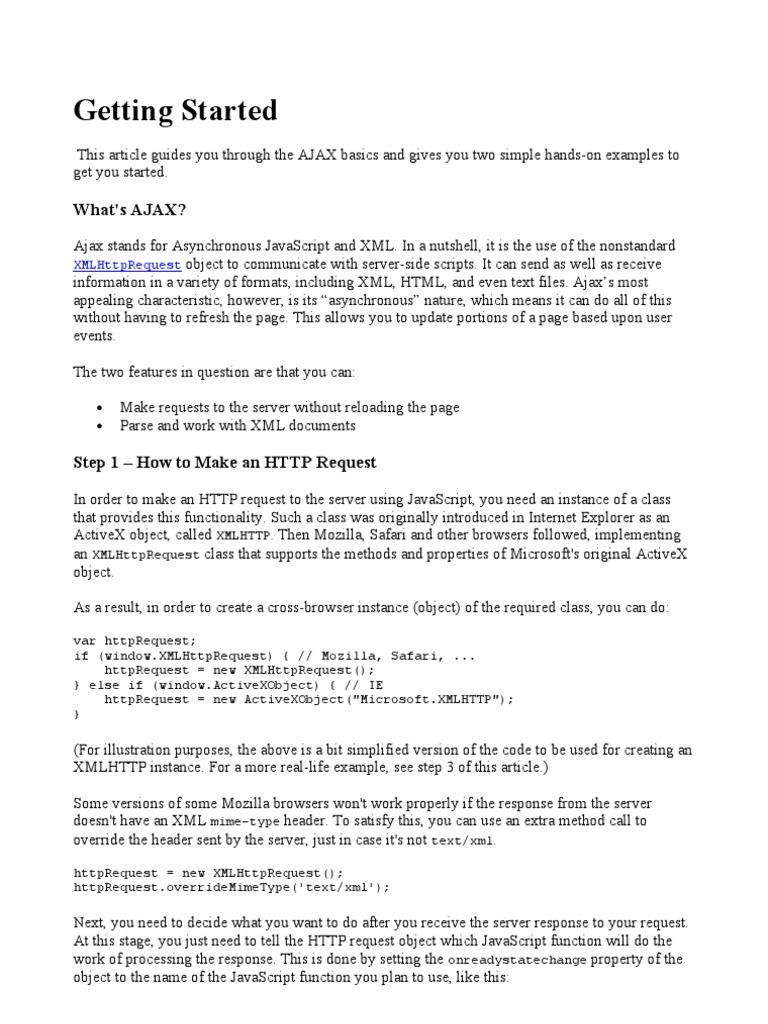 AJAX - Getting Started   Ajax (Programming)   Application